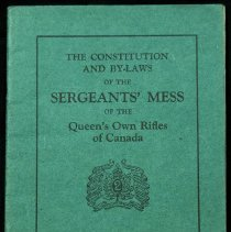 Image of Constitution and Bylaws of the QOR Sgts' Mess 1933 - 1933/10/16