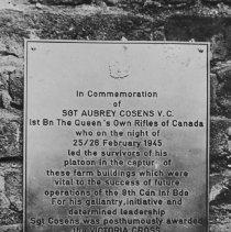 Image of Sgt Aubrey Cosens' Plaque - 1963/08/23