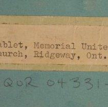 Image of Tablet, Memorial United Church, Ridgeway, Ontario