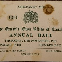 Image of Invitation to Sergeant's Mess Annual Ball 1952 - 1952/11/13