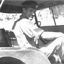 Image of QOR Sgt Nick Fritz in Jeep in Korea - 1955/  /