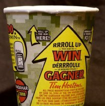 Image of Tim Horton's Cup from Afghanistan