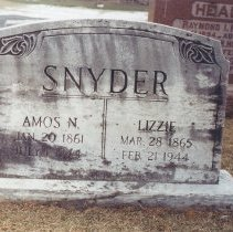 Image of Tombstone of Amos N. Snyder, Lizzie Snyder