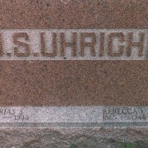 Image of Tombstone of Urias S. Uhrich, Rebecca I. Uhrich