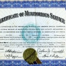 Image of Certificate of Meritorious Service