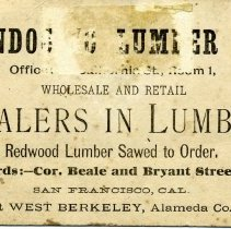 Image of Mendocino Lumber Company Business Card