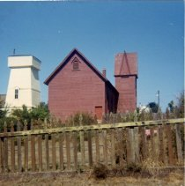 Image of Mendocino Baptist Church and MacCallum Water Tower