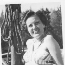 Image of Jean Craig bathing suit photo sitting on boat at Roche Pt