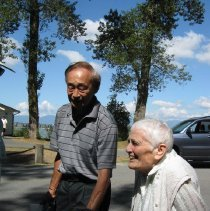 Image of KenYada (married to Dorothy Kirk) helping Jean to her 100th Birthday at Sch