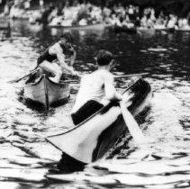 Image of 0182-S - Deep Cove Regatta canoe tilting - 0182-S - DC Regatta canoe tilting c1926
