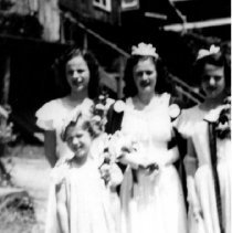 Image of Deep Cove's First May Queen Shirley Matheson - Deep Cove's First May Queen Shirley Matheson  with court Anne Springer, Lois Achenhead, Jeanette Reid