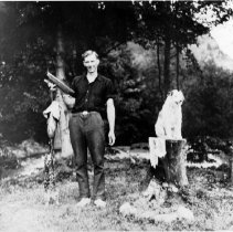 Image of 0666 - Art George with pets and fish c1930s