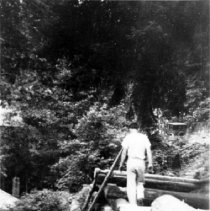 Image of 0670 - Quarries Lodge, man on retaining wall