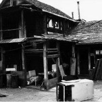 Image of Maplewood, Mike Bozzer's homestead - 0711 - Bozzer's house from inner courtyard Maplewood, Mike Bozzer's homestead built 1935 black and white photo   Detail of house from inner courtyard, looking south