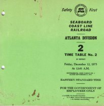 Image of Atlanta Division Time Table No. 2 1975