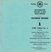 Image of Savannah Division Time Table No. 1