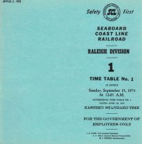 Image of Raleigh timetable Sep 15, 1974