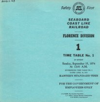 Image of Florence timetable Sep 15, 1974