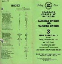 Image of Savannah Waycross timetable Dec 12, 1975