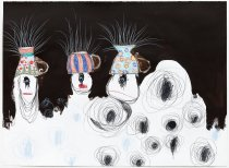 Image of Wanda Lock - Three Cyclops with hairy tea cups on their heads surrounded by atoms