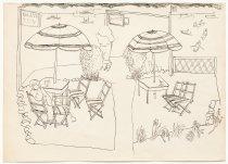 Image of B.C. Binning - not titled [outdoor tea room, seated figure]