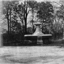Image of <i>Hogan's Fountain</i> during construction, pre-Pan and dog fountains, c.