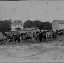 Image of Funeral of Floyd Allen and son Claude - Funeral of Floyd Allen and son Claude, ca. 1912-1913.  Home of Floyd is in the background.