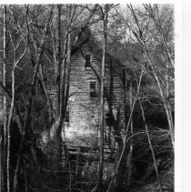 Image of Bryant Mill - Bryant Mill, located on Bull Run Creek in the Eldora Township.  According to information in SIMPLE TREASURES, part of the building came from the older Key Mill which stood nearby on the opposite side of Bull Run Creek.  State Record 2041.