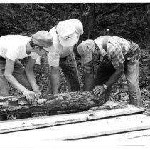 Image of Pickshin Park - Pickshin Park.  Picture of three men working on a construction project at Pickshin Park in 1976.