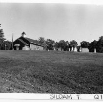 Image of Old Siloam Methodist Church - Site of  Old Siloam Methodist Church and Cemetery, located on SR 2081 in the Siloam vicinity.  According to SIMPLE TREASURES, Old Siloam Methodist stood vacant for years until the property was purchased by the Friends Meeting.  The present brick veneered structure on the site is still used by the Friends congregation.  The adjacent cemetery, with gravestones of many prominent local citizens - particularly members of the Reeves and Marion families - dates from at least the 1840s and serves as a physical reminder of Old Siloam Methodist.  State Record 193.