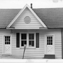 Image of Railroad Ticket Office, Elkin - Small building on West Main Street in Elkin.  Built ca. 1870, it has served as the office of the Elkin Manufacturing Company, Elkin and Alleghany Railroad Ticket Office, and Elkin's first library.  See SIMPLE TREASURES p. 98 and State Record 591.