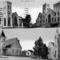 Image of Mount Airy Churches -  Mount Airy churches - First Baptist (1907), First Presbyterian (1907-14), Friends Church (1904), and Old Central Methodist (1895).  Collage of the four churches.