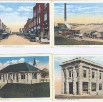 Image of Post Cards - Mount Airy Main Street, N. C. Granite Corporation Quarry, Southern Railway Depot, First National Bank, Mount Airy.  Copies of four post cards combined on one sheet.