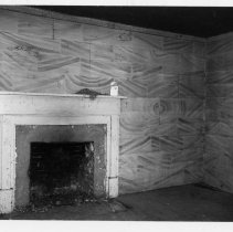 Image of Flinchum House, Parlor Walls - Flinchum House, SR 2047, Pilot Mountain vicinity, picturing the unusual walls in the parlor.  For more information, see SIMPLE TREASURES page 192 and state record 52.