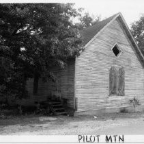 Image of Friends Church - (Former) Friends Church, 109 School Street, Pilot Mountain, built ca. 1920.  For more information see SIMPLE TREASURES page 204 and state record 635.