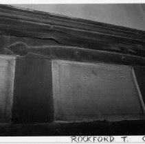 Image of W. P. Dobson House - William P. Dobson House Exterior, Rockford, Surry County, North Carolina.  Picture shows detail of doorway.