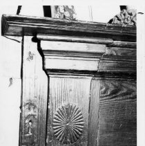 Image of Mantel, Reeves-Hardy House - Mantel, Reeves-Hardy House, SR 2080, Siloam Township.  This mantel is one of the most outstanding from the early 19th century period remaining in Surry County.  For more information see SIMPLE TREASURES page 242 and 14, and state record 182.
