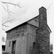 Image of Bray House - Bray House, SR 2227, Copeland vicinity, Rockford Township.  Log structure, now sheathed with corrugated sheet metal.  For more information see SIMPLE TREASURES page 214 and State Record 239.