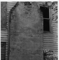 Image of Joe Greenwood House - Chimney on Joe Greenwood house, Marsh Township, Burch Vicinity, Surry County, North Carolina., a one-and-half story traditional nineteenth-century farmhouse composed of three sections.  See SIMPLE TREASURES, page 121.