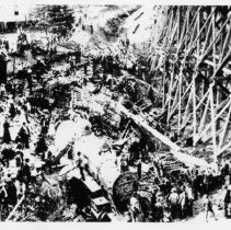 Image of Train Wreck - Train Wreck. Wreck of 1897.  A crowd of people has gathered at the site.