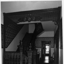 Image of Alexander Martin Smith House - Hall and stairway, Alexander Martin Smith House, 131 Gwyn Avenue, Elkin.  For more information see SIMPLE TREASURES page 95 and State Record 567.
