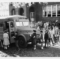 Image of South Main School - South Main School, Mount Airy, loading school bus, 1958.