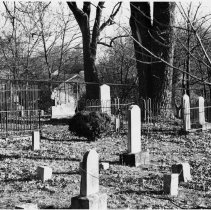 """Image of Methodist Church Cemetery - Cemetery at """"Second"""" Methodist Church, Mount Airy.  Note on back of picture reads: """"Site of second Methodist church in town - 1858-1894.  Original church torn down in early 1900s.  Church cemetery burial place of many prominent Mount Airy citizens of the time. (1976 Bicentennial)"""""""
