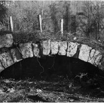 """Image of Brower Mill Bridge - Brower Mill Keystone Bridge, Hamburg Street, Mount Airy.  Note on back of picture reads: """"Bridge over mill race which formerly led to old Brower's Mill.  Bridge made with keystone - no mortar. """"  A typed description continues: """"Keystone Bridge - Arched bridge built with keystone without mortar.  Crossed Brower Mill race.  In community called Hamburg. .6 mile from Business #52 on Hamburg Street in Mount Airy."""""""