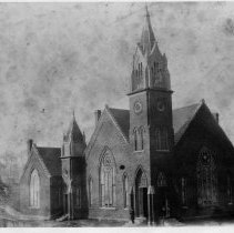 Image of Central Methodist Church - Old Central Methodist Church, Mount Airy, built 1894, corner of Dixie and Franklin Streets, no longer standing.  Site is now Spencer's parking lot.