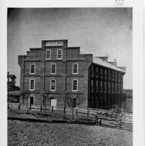 "Image of Sparger Brothers Tobacco Factory - Sparger Brothers Tobacco Factory (now Spencer's) about 1895.  Mount Airy.  Pencil note on back of picture reads, ""Credit Miss Alma Sparger."""