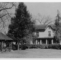 Image of William Alfred Moore House - William Alfred Moore House, 202 Moore Ave., Mount Airy, built around 1850.  A nineteenth century gazebo, made from intertwining laurel-rot and wood shingles is a distinctive feature of the yard.