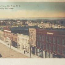 """Image of Mount Airy, Aerial View - Aerial view of Main Street, Mount Airy in 1919.  Copy of a postcard.  Note in upper corner of picture reads: """"Bird's Eye View, Mt. Airy, N. C. looking Northeast."""