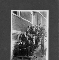 Image of Rockford Street School Students - Rockford Street School, Mount Airy, students.  Students, who appear to be upperclassmen, are seated on steps outside the school.  A few are tentatively identified on the back of the picture, and those names are copied.