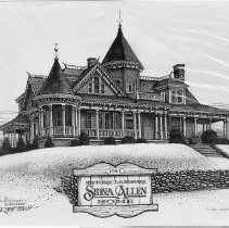 Image of Sidna Allen Home - Sidna Allen Home,1911 historic landmark,  Carroll County, Virginia.   Print by C. Ron Leonard 1995, from the Carroll County Collection.